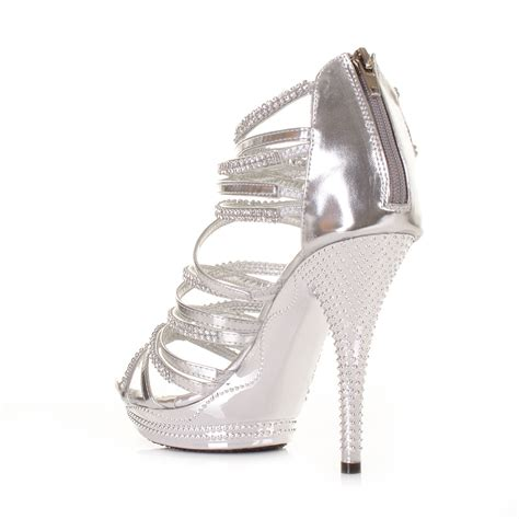 silver sandals high heels womens high heel silver gladiator strappy sandal platform