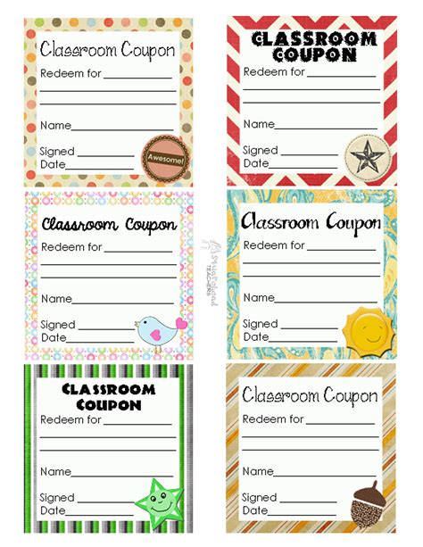 printable reward ticket template coupons squarehead teachers