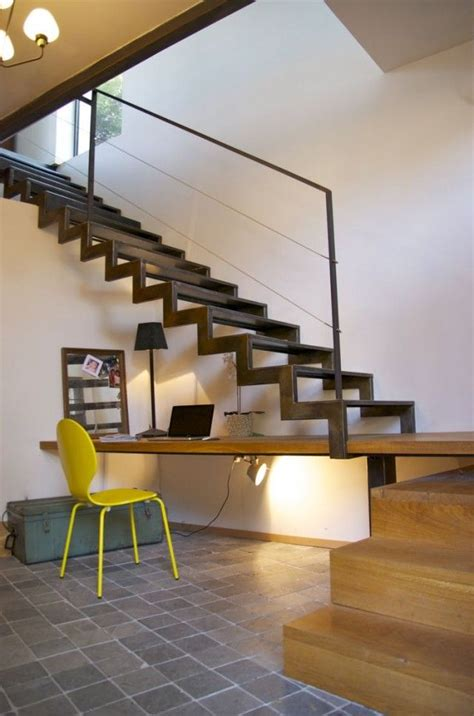 Industrial Home Office Desk Industrial Style Home Office Built In Desk Open Metal Stairs Industrial Decor