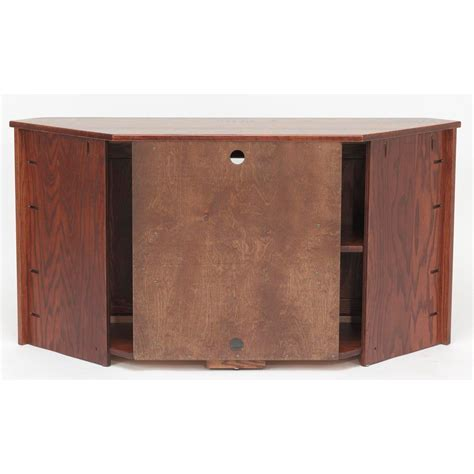 Solid Oak Mission Style Corner Tall TV Stand w/Cabinet