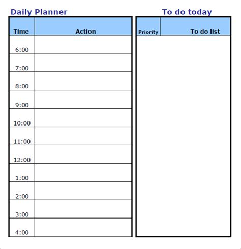 daily planner template in excel daily planner template word calendar template 2016