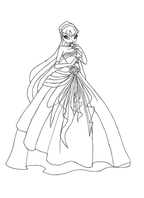Winx Club Coloring Pages Stella winx club gown stella coloring page by winxmagic237