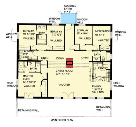 berm home floor plans plan 35458gh attractive berm house plan house plans o connell and entrance