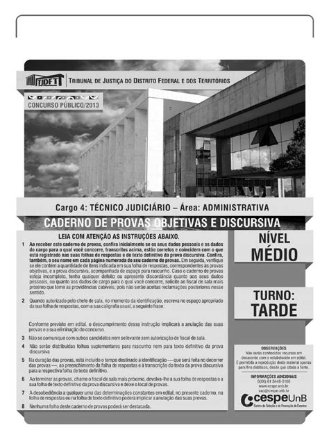 Cespe 2013 Tj Df Tecnico Judiciario Area Administrativa