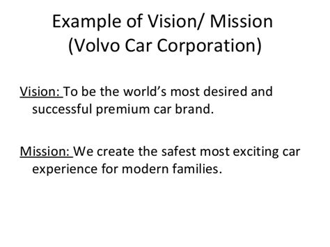 volvo mission statement organisational strategic framework road map