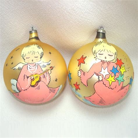 1960s italy large glass christmas ornaments painted pink