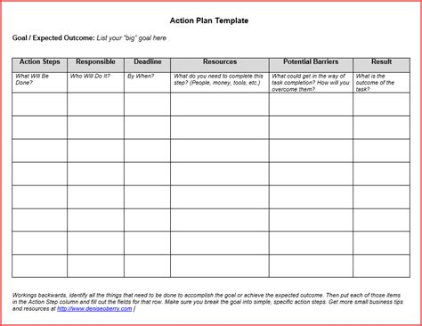 standard business plan template standard plan template for business with expected