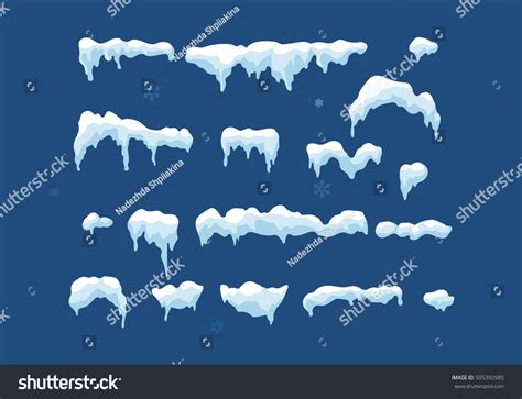 Set Snowy set isolated snow cap snowy elements stock vector 505392985