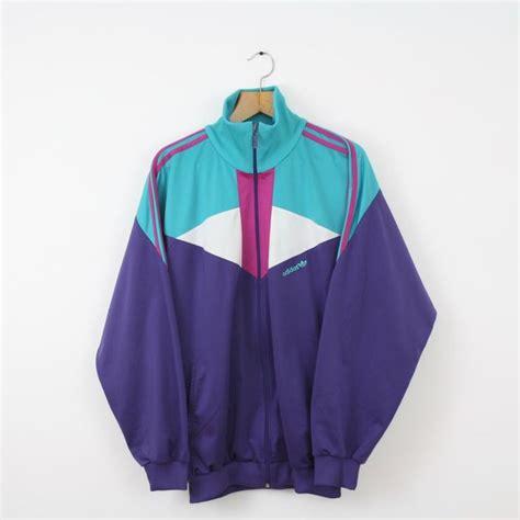 Outwear Jaket Sweater Hoodie Wanita Blue vintage adidas 80s 90s purple green tracksuit top jacket original trefoil xl in clothing