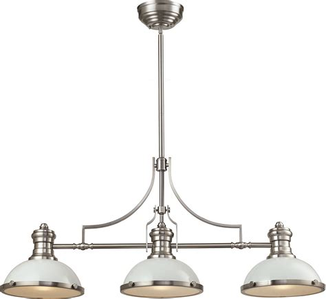 Elk 66165 3 Chadwick Contemporary Gloss White Satin Nickel Lighting Fixtures Island