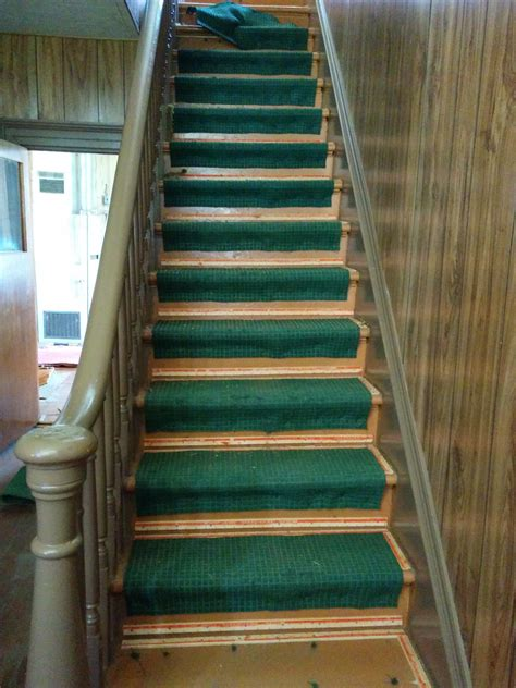 Which Carpet Underlay For Stairs - hallway stairs before after the carpet removal elm