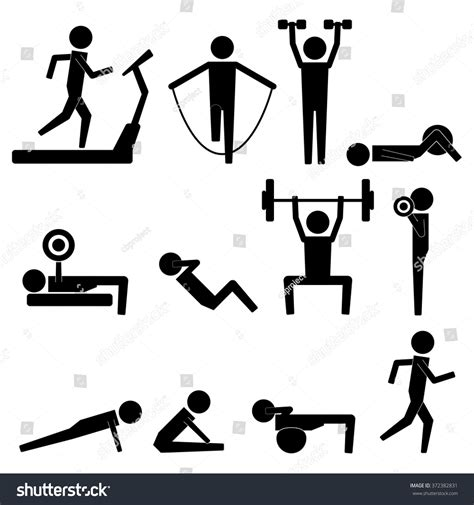 Stick Dumbell human stick figure exercise icon stock vector 372382831