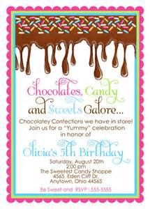 chocolate candy invitations ooey gooey chocolate sweet shop