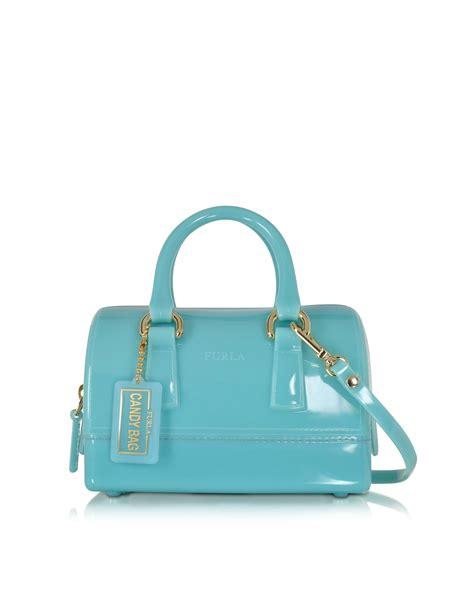 Furla Jelly Bag Preloved lyst furla aquamarine jelly rubber sweetie mini satchel in blue