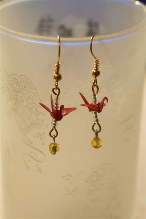 Origami Crane Chain - origami crane earrings and origami crane chain