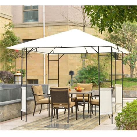 Outsunny Metal Square Gazebo Black And Cream White Metal Patio Gazebo
