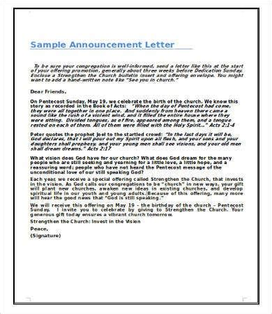 announcement letter word documents