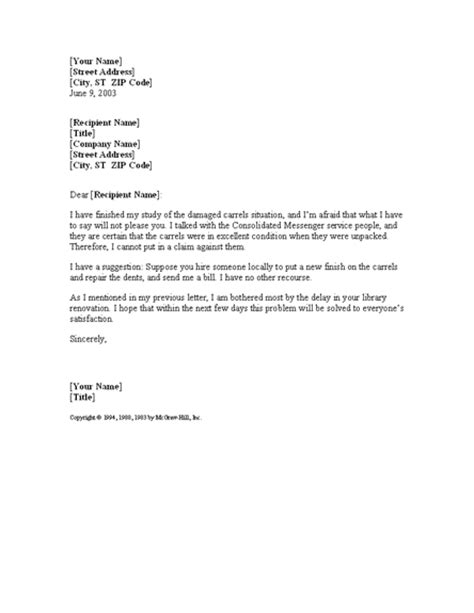 letter offering solution for damaged shipment for
