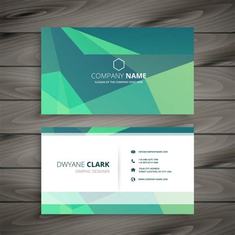 modern cards polygonal green modern business card vector free download