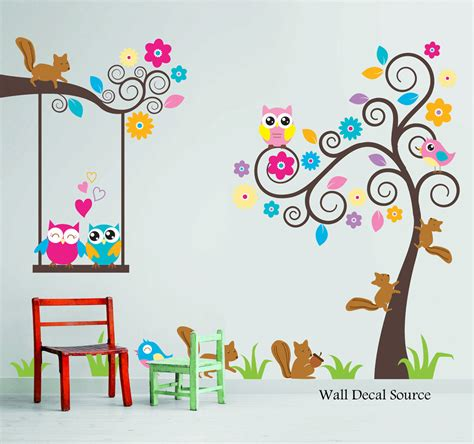 childrens wall sticker nursery wall decal birds owls squirrels swirly tree wall