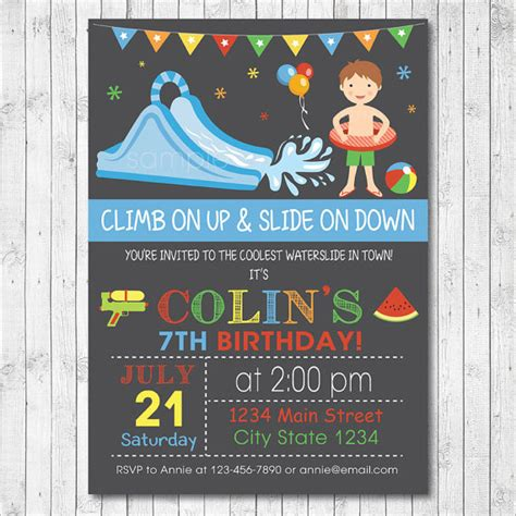 free printable birthday invitations water water slide birthday party invitation card boy by