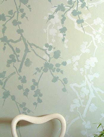 mint green wallpaper uk green and blue wall stencil oversize blossom silhouette