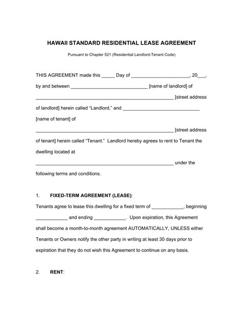 free hawaii rental lease agreements residential