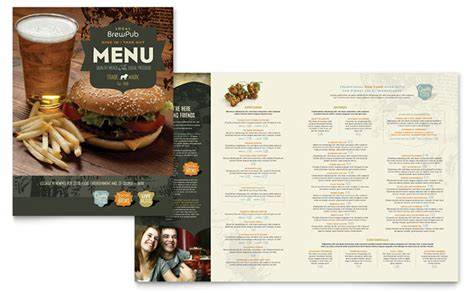 menu card template powerpoint brewery brew pub menu template design