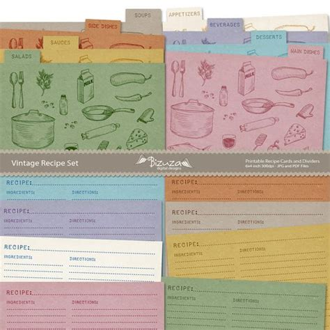printable recipe card dividers printable recipe cards and recipe box dividers 4x6