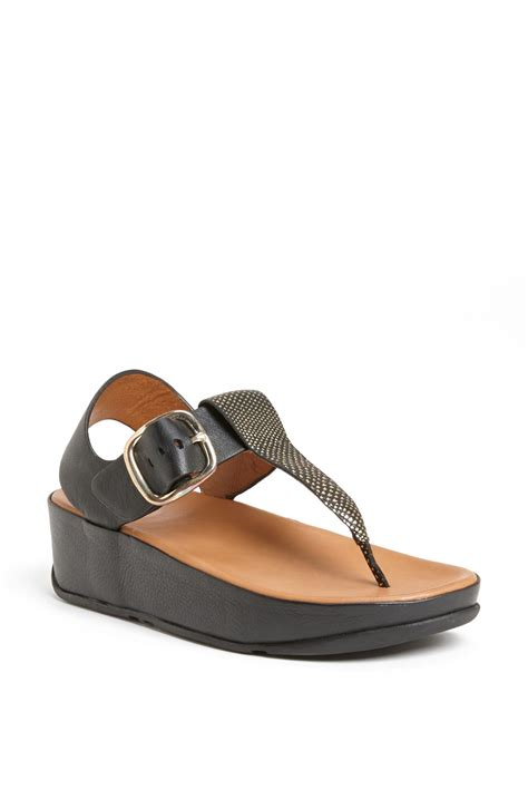 fitflop sandal fitflop leather sandal in black lyst