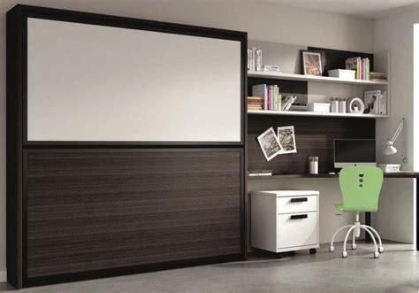 armoire lit superposee transversale avec bureau integre et matelas chene noir et blanc 2