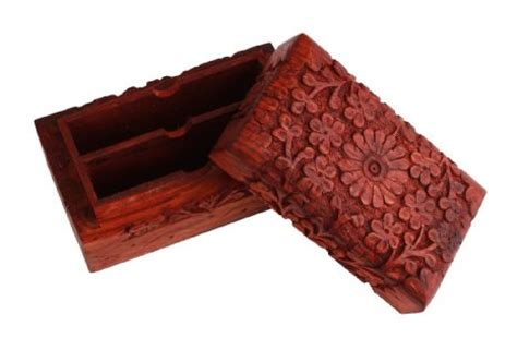 Playing Card Gift Ideas - buy exotic hand carved wooden playing card holder box double deck case birthday or