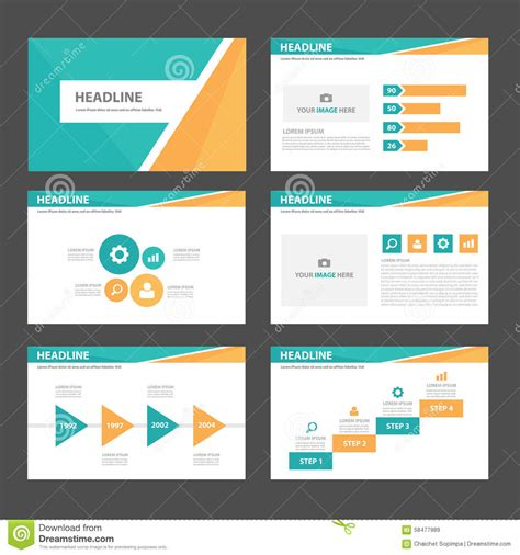 Orange And Green Multipurpose Presentation Brochure Flyer Leaflet Website Template Flat Design Website Design Presentation Template
