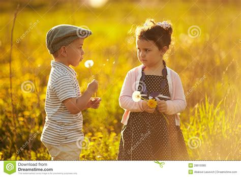 boy and boy and on summer field stock image image