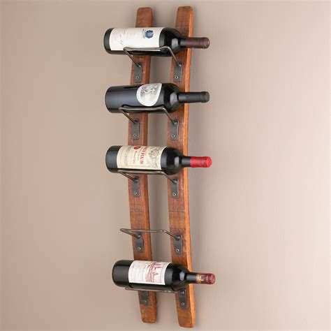 Wall Mount Wine Rack by Wine Enthusiast Barrel Stave Wall Mounted 5 Bottle Wine