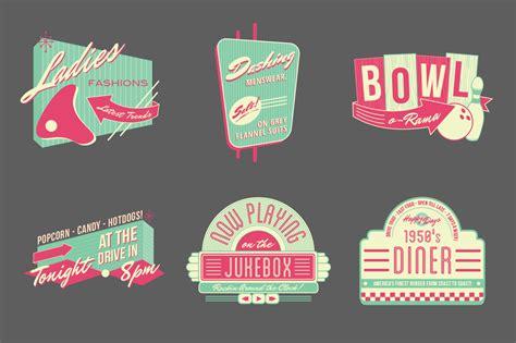 50s design 1950s retro logos and badges vinatge stlye creative tools