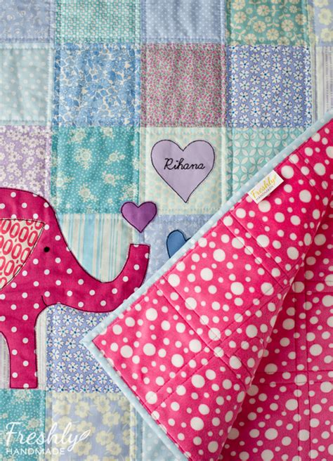 Elephant Patchwork - freshly handmade elephant patchwork quilt finished