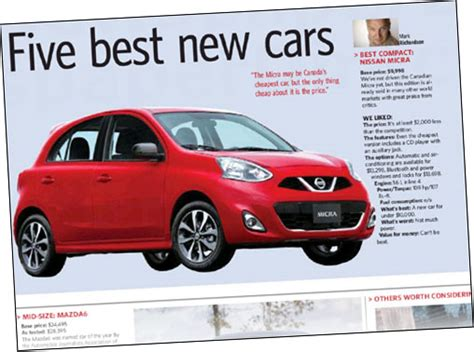 toronto star auto section toronto star 2015 micra one of quot 5 best new cars quot for