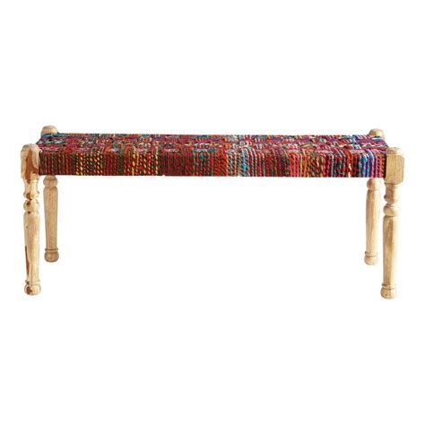 indian bench acacia wood and indian saris indian bench multicoloured w