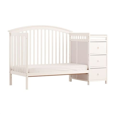 4 In 1 Fixed Side Convertible White Crib Changer 04586 351 Fixed Side Convertible Crib