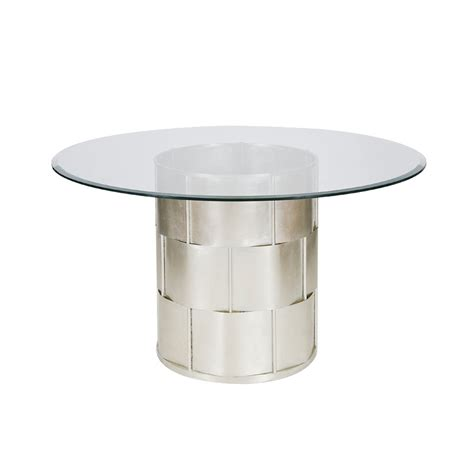 48 inch glass top dining table worlds away amanda silver leaf basketwave dining table