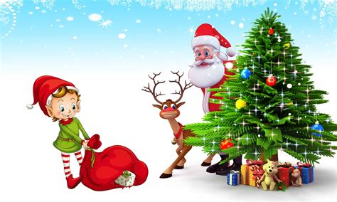 tree santa claus postcard santa claus deer tree with