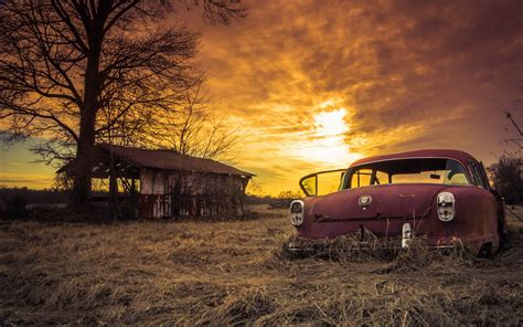 Classic Car Wallpaper Set As Background by Wallpaper Abandoned Car Sliders Sunday Sunset
