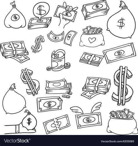 how to create money in doodle money doodle set royalty free vector image vectorstock
