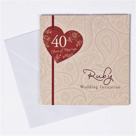 Wedding Anniversary Card Template by Ruby Wedding Invitations Invitations Card Template
