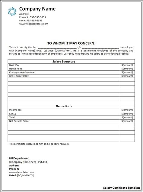 commercial print model salary salary certificate format free printable word templates
