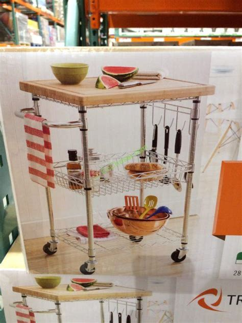 costco 723142 kitchen cart with bamboo cutting