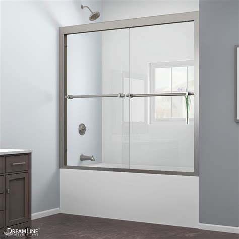 Bypass Shower Doors Frameless Dreamline Duet 56 To 59 Quot Frameless Bypass Sliding Tub Door Clear 5 16 Quot Glass Door Brushed Nickel