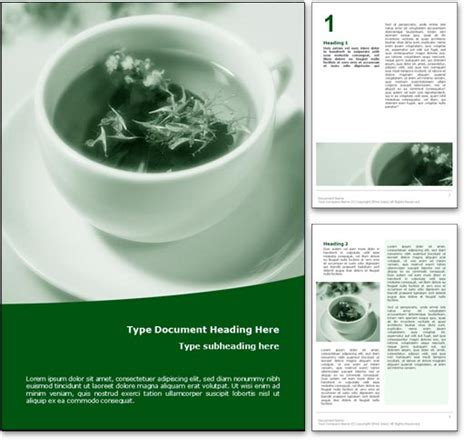doc powerpoint templates royalty free herbal tea microsoft word template in green