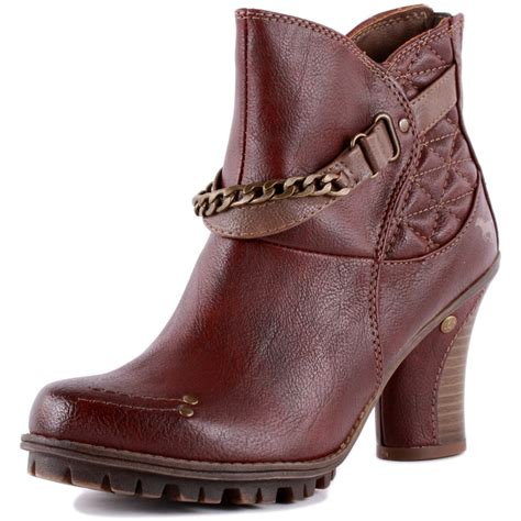 mustang 1141 604 womens synthetic burgundy ankle boots new
